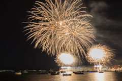 Fireworks over the sea town Royalty Free Stock Images
