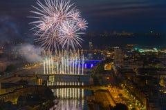 Fireworks over the Sena royalty free stock photos