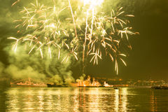 Fireworks over Sevastopol Bay royalty free stock photo