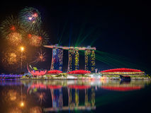 Fireworks over Singapore city skyline Stock Photos