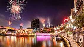 Fireworks Over Singapore River Stock Photos