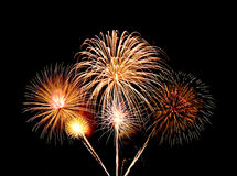 Fireworks over sky Stock Images
