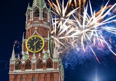 Fireworks over the Spasskaya Tower. Moscow Kremlin, Russia.  royalty free stock photography