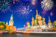 Fireworks over St Basil`s cathedral and Kremlin on Red Square at night, Moscow Russia Stock Image