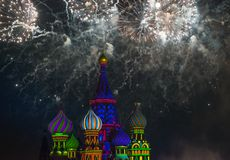 Fireworks over St. Basil's Cathedral Stock Images