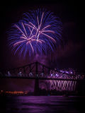 Fireworks over St Lawrence river Royalty Free Stock Photos