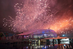 Fireworks over the stadium Fish Stock Image