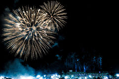 Fireworks over a stadium Royalty Free Stock Images
