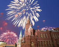 Fireworks over the State Historical Museum at night. Moscow, Russia Stock Photography