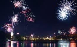 Fireworks over Stockholm stock images
