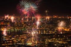 Fireworks over Stockholm Stock Image