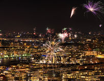 Fireworks over Stockholm and Djurgarden Stock Photography
