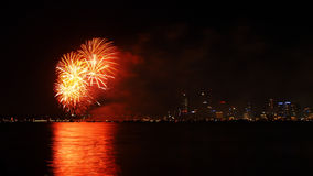 Fireworks over Swan River, Perth Royalty Free Stock Photos