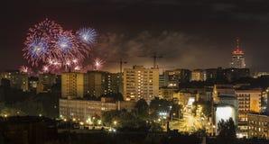 Fireworks over Szczecin City (Stettin) at night, Poland.  Stock Images