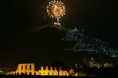 Free Fireworks Over The Christmas Tree Of Gubbio In Umbria Stock Photo - 105698730