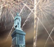Fireworks Over The Moscow City Center And A Monument To Pushkin On Tverskaya Street At Night, Russia Royalty Free Stock Photography