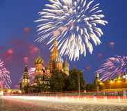 Fireworks Over The Saint Basil Cathedral Temple Of Basil The Blessed, Red Square, Moscow, Russia Royalty Free Stock Photo