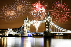 Fireworks over Tower Bridge Royalty Free Stock Photography
