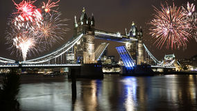 Fireworks over Tower Bridge Royalty Free Stock Images