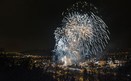 Fireworks over town. Of Samobor during carnival Stock Photography