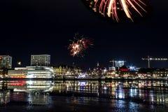 Fireworks over Umeå, Sweden Stock Images