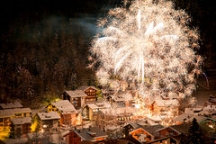 Fireworks over the village of Saas-Fee Stock Images