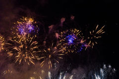 Fireworks over Vistula river in Krakow Royalty Free Stock Images