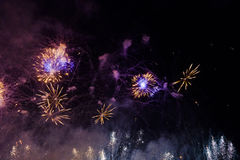 Fireworks over Vistula river in Krakow Royalty Free Stock Photography