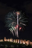 Fireworks Over the Walls of Avila. Royalty Free Stock Image