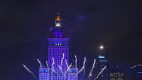 Fireworks over Warsaw stock footage