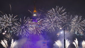 Fireworks over Warsaw stock video