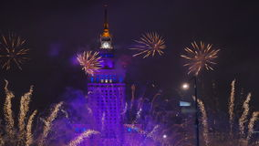 Fireworks over Warsaw stock video footage