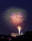 Fireworks over Washington DC on July 4th Stock Image