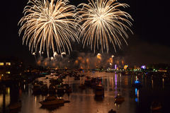 Fireworks over Water - Bay City Michigan Royalty Free Stock Photos