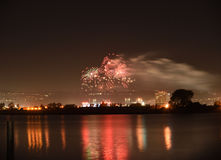Fireworks over the water Stock Photos