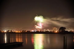 Fireworks over the water Royalty Free Stock Photos