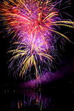 Fireworks over the water. Festival fireworks ignisis brunensis over the dam Royalty Free Stock Photography