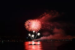 Fireworks Over Water. Fireworks over the water in Vancouver royalty free stock photography