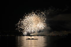 Fireworks Over Water. Fireworks over the water in Vancouver stock photography