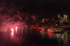 Fireworks over Wawel castle in Krakow Stock Images