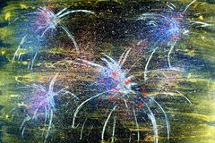 Fireworks Painting. Original handpainted painting of fireworks, great for use for New Years Eve, or party celebrations Stock Images