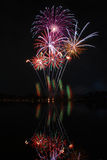 Fireworks in the park. Colorful and beautiful fireworks in the public park Stock Photography