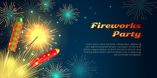 Fireworks Party Barner. Collection of Pyrotechnics. Fireworks party web barner in cartoon style. Collection of pyrotechnics vector illustration of colourful Stock Photography