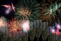 Fireworks party with champagne. Drinks and fireworks for parties like wedding, new year, sylvester, independance days and others Stock Photos