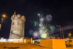 Fireworks in Paterna. Fireworks in the Paterna Tower, Valencia, Spain royalty free stock photo