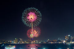 Fireworks at Pattaya beach Royalty Free Stock Photos