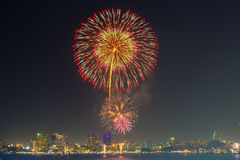 Fireworks at Pattaya beach Royalty Free Stock Photo