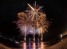 Fireworks at Pattaya beach, Thailand Stock Image