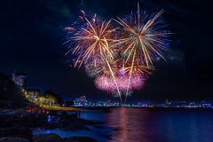 Fireworks at Pattaya beach, Thailand Royalty Free Stock Image