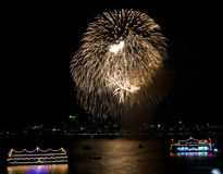 Fireworks in pattaya city Stock Photography